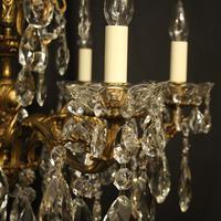 Italian Gilt Bronze & Crystal 6 Light Antique Chandelier (8 of 10)