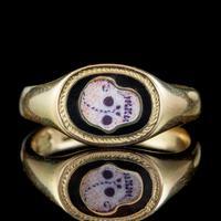 Antique Edwardian Memento Mori Skull Signet Ring 18ct Gold Dated 1902 (2 of 8)