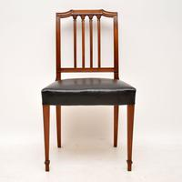 Set of 4 Antique Mahogany & Leather Dining Chairs (3 of 11)