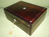 Unisex Inlaid Rosewood Jewellery Box + Tray. c1850 (4 of 13)