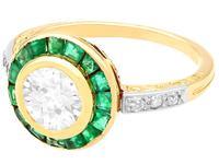 1.05ct Emerald & 1.18ct Diamond, 18ct Yellow Gold Dress Ring c.1930 (3 of 9)