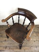 19th Century Ash and Elm Smoker's Bow Chair (M-1704) (15 of 15)