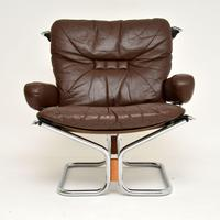 1960's Pair of Leather & Chrome Armchairs by Ingmar Relling (7 of 12)