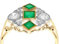 0.55 ct Emerald and 0.54 ct Diamond, 18 ct Yellow Gold Dress Ring - Art Deco - Antique Circa 1920 (9 of 9)