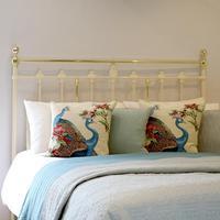 Brass & Iron Antique Platform Bed in Cream (2 of 6)