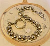 Antique Pocket Watch Chain 1920s Large Chrome Fancy Link Albert with Big Bolt Ring (3 of 12)