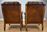 Pair of Victorian Hand Dyed Leather Library Chairs (9 of 13)