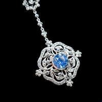 Antique Old Cut Blue Paste Drop Sterling Silver Pendant Necklace (10 of 12)