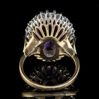 Vintage Amethyst Diamond Cocktail Ring 18ct Gold 12ct Amethyst Circa 1980 (5 of 8)