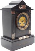 Antique French Slate & Marble Mantel Clock 8 Day Striking Mantle Clock (9 of 10)