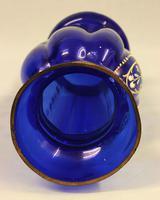 Antique Bristol Blue Glass Decorated Vase (7 of 7)