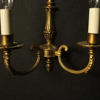 French Pair Of Gilded Brass Antique Wall Lights (10 of 10)