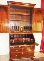 George II veneered walnut bureau bookcase