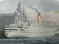 1950's Watercolour RMS Empress of England & Britain Liner Ships Liverpool Mersey (4 of 12)