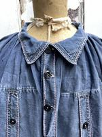 Antique French Faded Blue Linen Biaude Shirt Chemise Smock Size L (3 of 10)