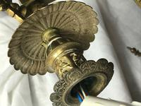 Large Tall 5Ft High Art Deco French Brass Chandelier Lighting 7 Branch Glass Dome (12 of 13)