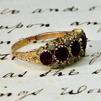 The Antique Victorian 1890 Garnet & Stone Ring (3 of 4)