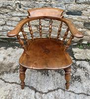 Antique Elm Captains Chair Smokers Bow (2 of 13)