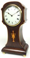 Impressive Solid Mahogany Tulip Cased Timepiece Clock with Satinwood Inlaid Decoration (8 of 10)