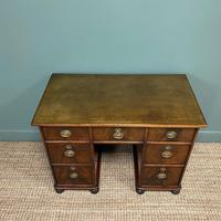 Small Mahogany Victorian Antique Pedestal Desk (4 of 7)