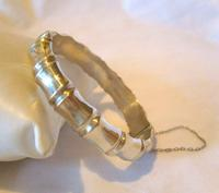 """Antique Sterling Silver Bamboo Bangle 1942 WW2 Wide Silver Bracelet 7 1/4"""" Length (2 of 10)"""