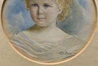 Albany E Howarth ARE Miniature Watercolour Portrait Painting of Little Girl (6 of 11)