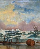 Large Spectacular 19th Century British Seascape Oil Painting - Shipwreck in Rough Seas! (9 of 13)