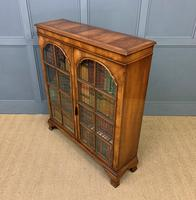 Good Burr Walnut Glazed 2 Door Bookcase (14 of 15)