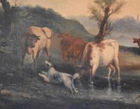 Fine Georgian Landscape Oil Painting with Cattle & Dog (6 of 8)