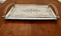 Art Deco Silver Plated Cut Glass Mirror Tray (3 of 11)
