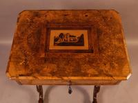 Good Victorian Ladies Sewing Table inlaid with castle ruins (10 of 10)