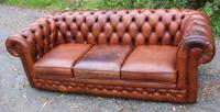 1960s 3 Seater Brown Leather Thomas Lloyd Chesterfield Sofa