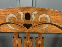 Arts & Crafts Inlaid Oak Bench (6 of 12)