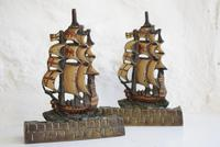 Pair of Painted Bronze Sailing Ship Doorstops or Bookends (10 of 10)