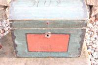 Scandinavian / Swedish 'Folk Art' Small blue-black orginal paint, Hälsingland table chest box 1814 (5 of 25)