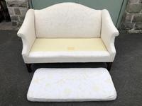 English Upholstered Camel Back Sofa (6 of 8)