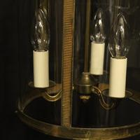 French Convex Gilded Brass Triple Light Antique Hall Lantern (9 of 10)