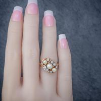 Antique Edwardian Pearl Diamond Cluster Ring 18ct Gold c.1910 (3 of 6)