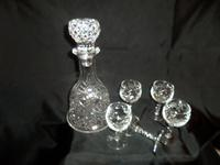 Lovely Cut Lead Crystal Glass Decanter with 5 Port Glasses. Twisted Stems