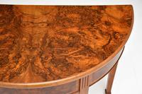 Antique Burr Walnut Demi Lune Console Table (3 of 8)