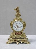 French Brass & Gilt Rococo Style Mantel Clock by Samuel Marti