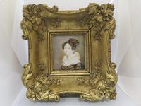 1820 Hand Painted Miniature Portrait Swept Gilt Frame (2 of 4)