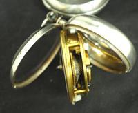 Antique Silver Pair Case Pocket Watch Fusee Verge Escapement Key Wind Enamel Dial (5 of 10)