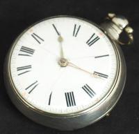 Antique Silver Pair Case Pocket Watch Fusee Verge Escapement Key Wind Enamel P Edmonds Liverpool (9 of 10)