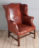 George III Mahogany & Leather Wing Armchair (5 of 9)