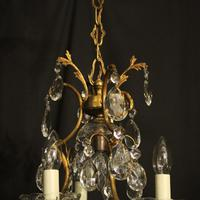 French Gilded Birdcage 4 Light Antique Chandelier (9 of 10)