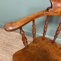 Elm Early Victorian Antique Smokers Bow Arm Chair (5 of 7)