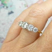 Vintage 18ct Platinum Five Stone Diamond Ring 1.20 Carat ~ with independent valuation (3 of 9)