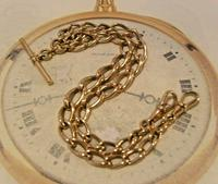 Victorian Pocket Watch Chain 1890s Antique 18ct Rose Rolled Gold Albert With T Bar