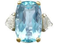 25.23ct Aquamarine & 3.40ct Diamond, Platinum Dress Ring - Vintage c.1950 (4 of 9)